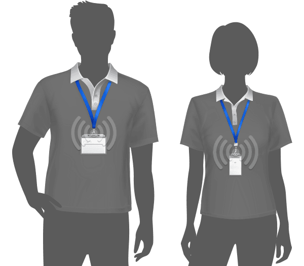 Male and female with RFID badges with a wifi signal